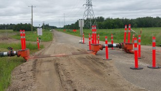 Hydro Test road crossings incorporated into water supply system.